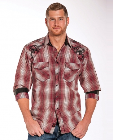 90 Proof® By Panhandle® Men's Ombre Snap Plaid Shirt
